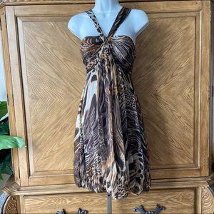 Teri Jon Silk Leopard Ballon Style Halter Dress